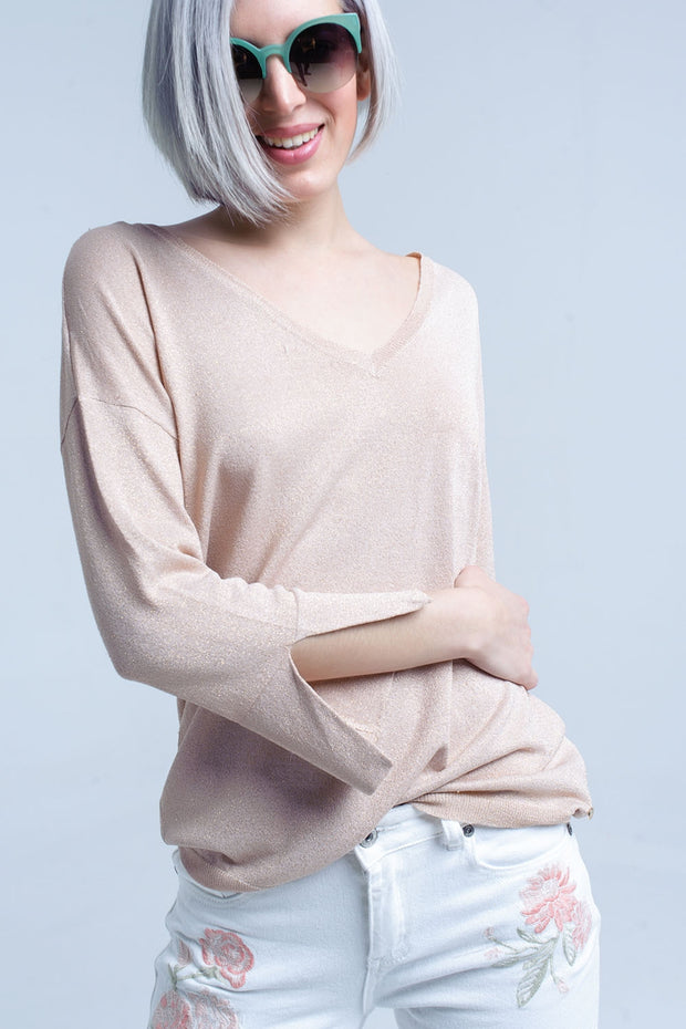 Women's Pink Knit Sweater with Gold Lurex Detail