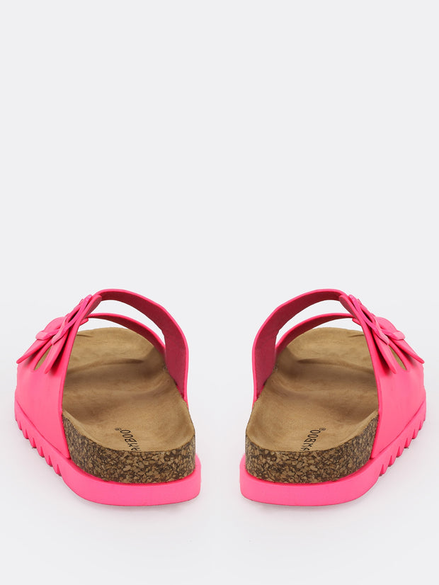Neon Double Buckled Slide Sandals