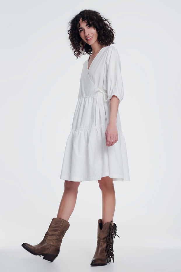 Cream Baggy Mini Dress With Short Sleeves