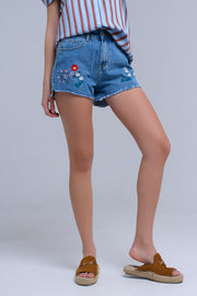Denim mid wash blue short with floral design