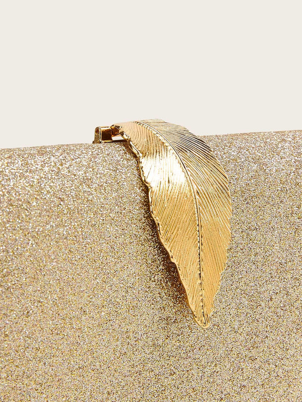 Metal Leaf Decor Glitter Clutch Bag