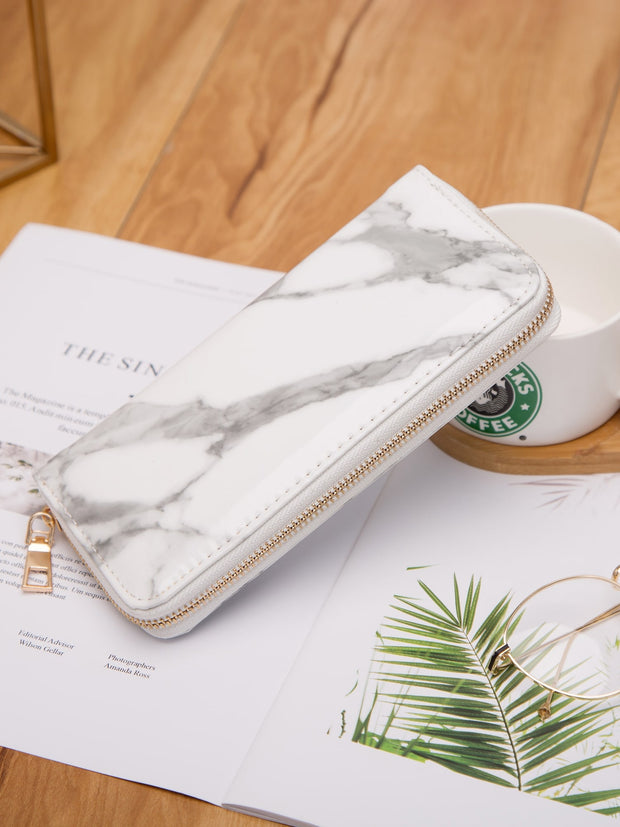 Marble Print Zip Around Purse