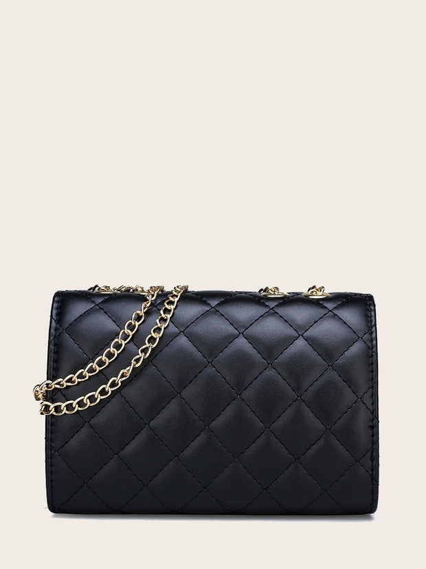 Quilted Bow Decor Chain Crossbody Bag