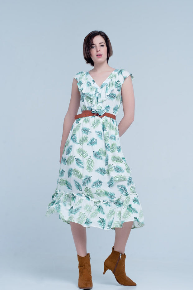 Green Printed Midi Dress with ruffles