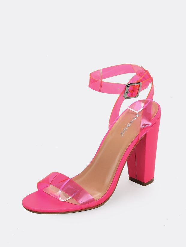 Buckled Ankle Strap Chunky Heel Sandals
