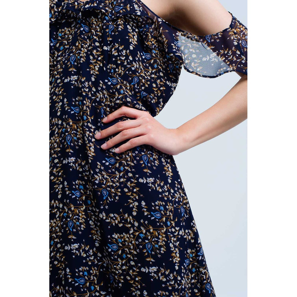 Navy Blue Dress With Printed Flowers And Ruffles Epica Clothing