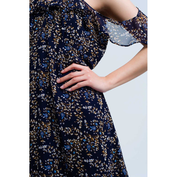 Navy blue dress with printed flowers and ruffles