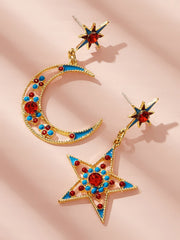Moon & Star Mismatched Drop Earrings 1pair