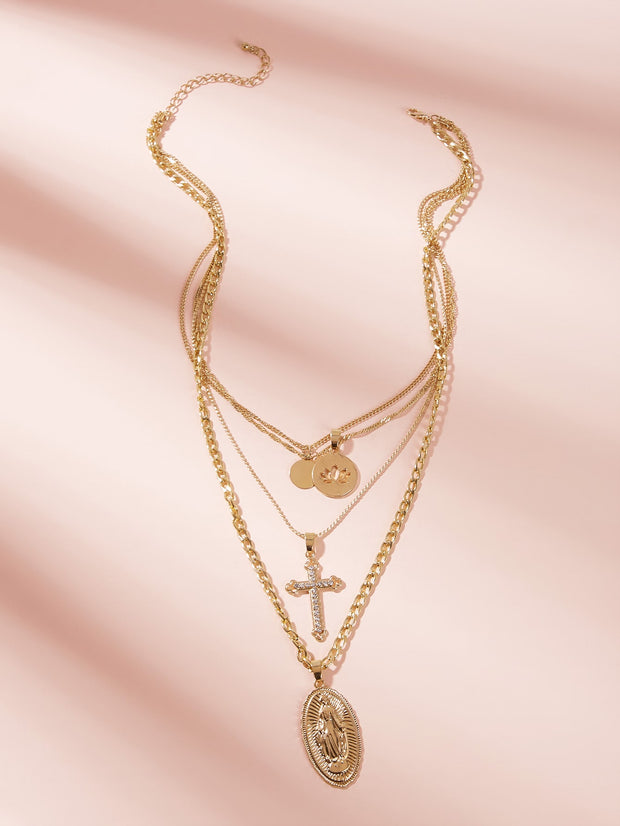 Cross & Disc Charm Layered Chain Necklace 1pc