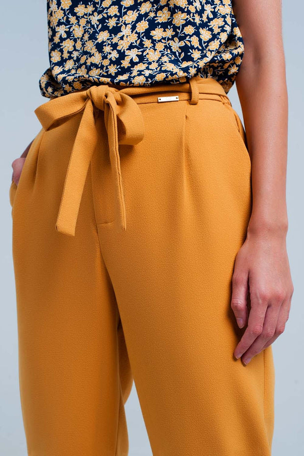 Mustard high waisted pants with belt