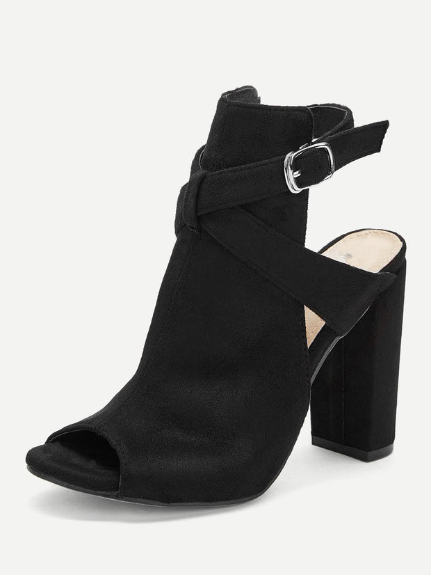 Plain Buckle Decorated Chunky Heels