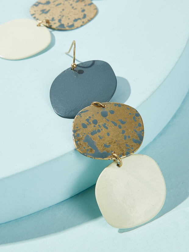 Triple Layered Disc Drop Earrings 1pair