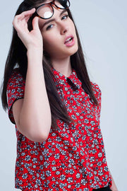 Women's Red Shirt with White Flowers Print