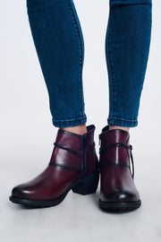 Maroon Blocked Mid Heeled Ankle Boots With Round Toe