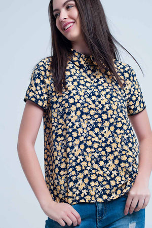 Women's Shirt with Yellow Flowers Print