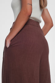 Belted High Waist Wideleg Trouser in Brown