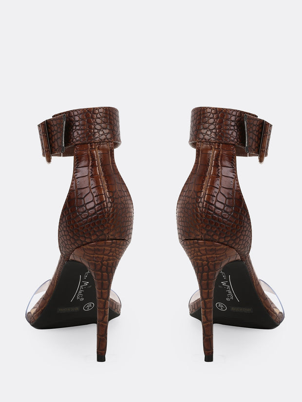 Clear Band Snakeskin Stiletto Heels