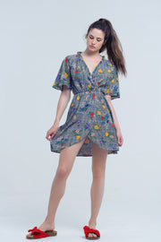 Mini dress with colorful flower print