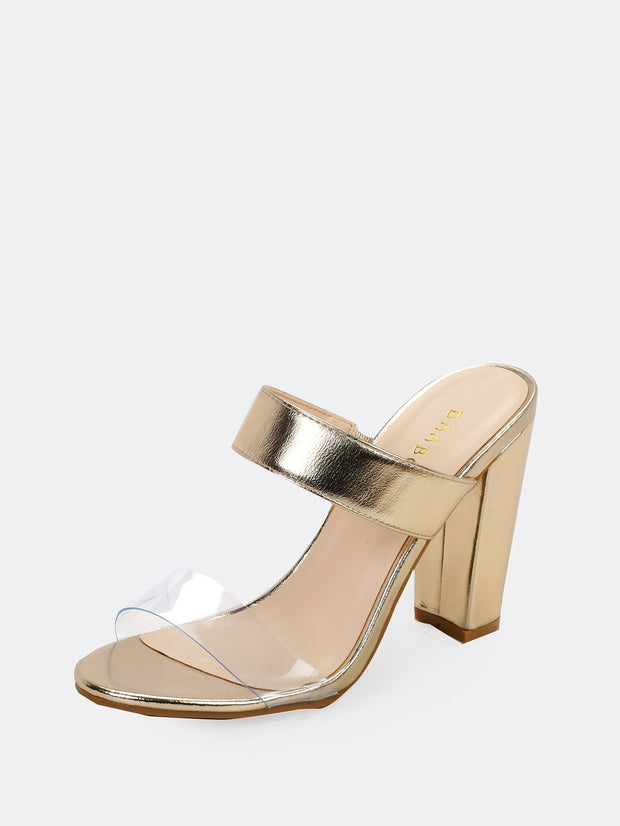 Twin  Band Detail Heeled Sandals