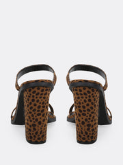 Cheetah Print Double Band Block Heel Mules