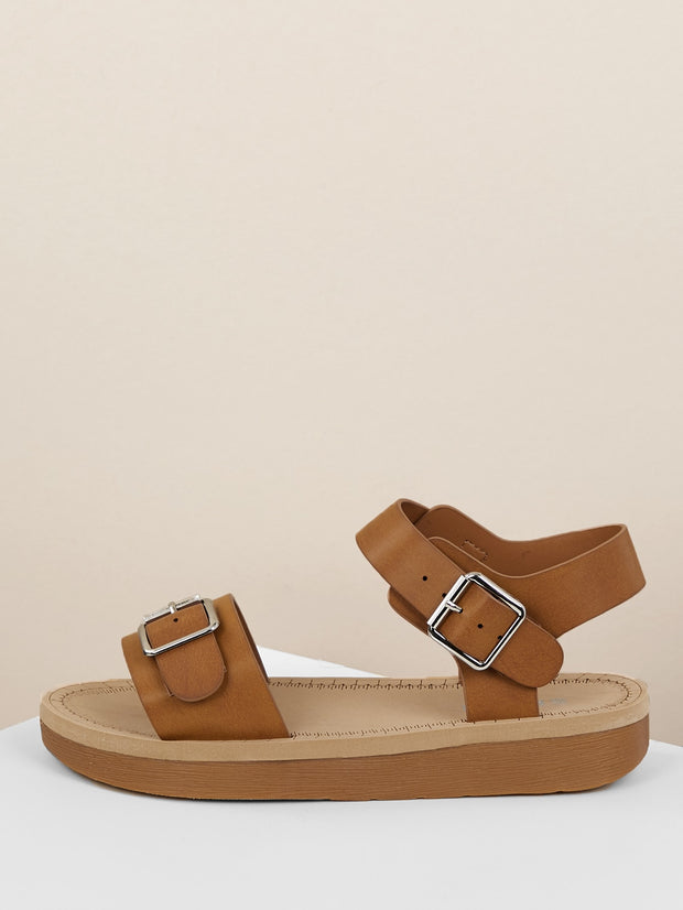 Single Band Buckled Ankle Low Flatform Sandals