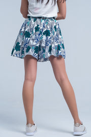 Blue mini skirt with floral print