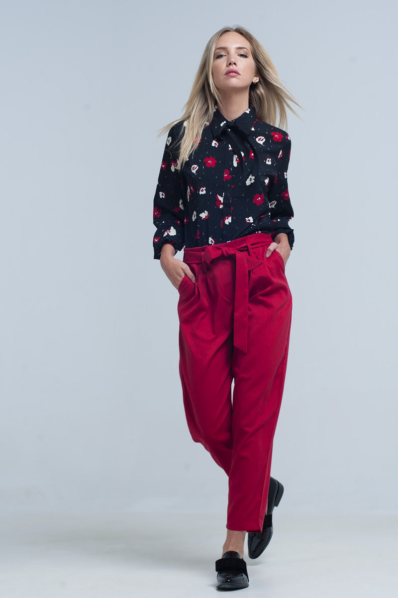 Buy Women's Black Shirt with Red and White Flowers