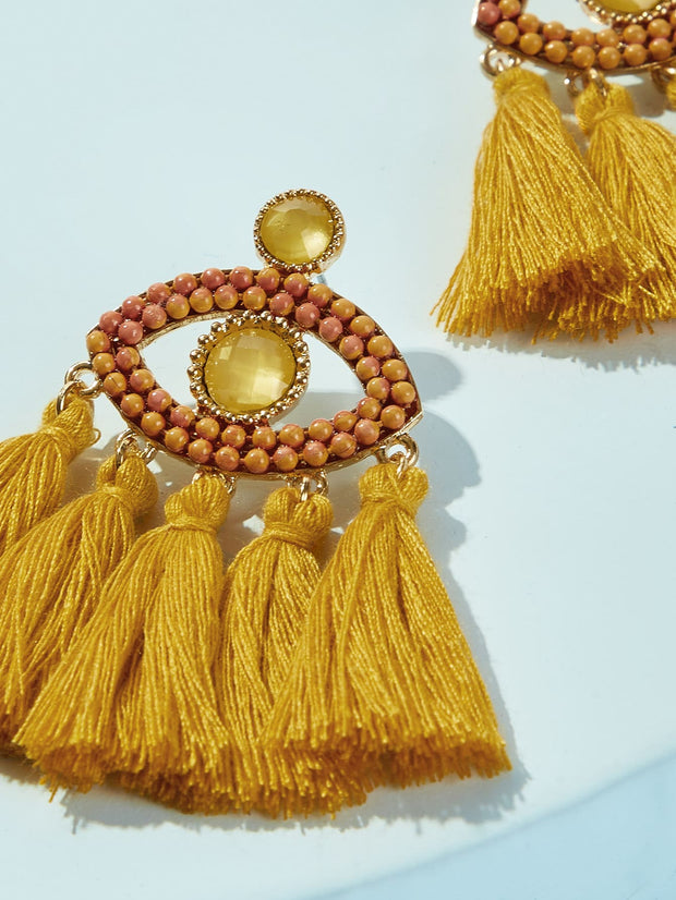 Eye Decor Tassel Drop Earring 1pair