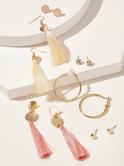 Round Tassel Drop & Hoop Earrings 6pairs