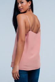 Pink cami top with satin straps