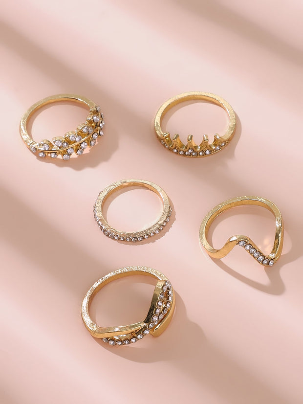 Wave & Leaf Shaped Ring Set 5pcs