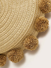 Pom Pom Decor Woven Satchel Bag