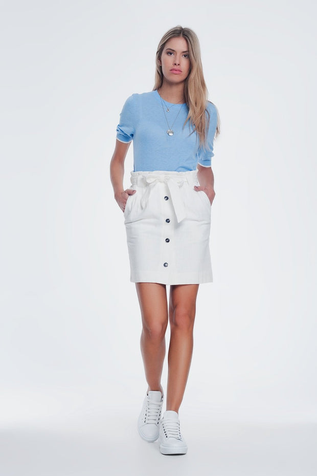 Mini Cream Skirt With Front Buttons