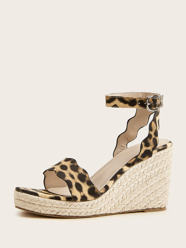 Scalloped Leopard Ankle Strap Espadrille Wedges