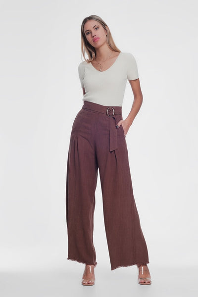 Shop your go-to for all the latest trends. Exclusive Epica Clothing women's  Belted High Waist Wideleg Trouser in Brown.