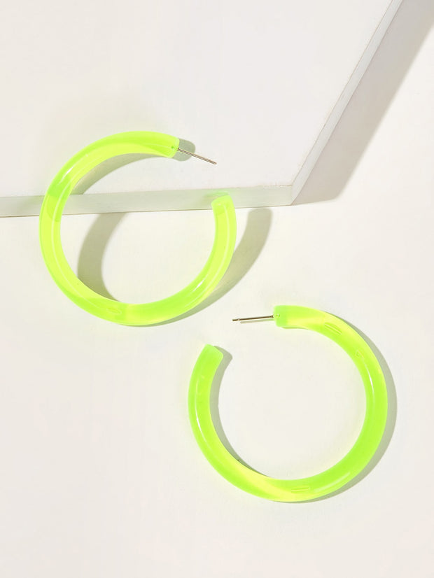 Plain Cut Hoop Earrings 1pair