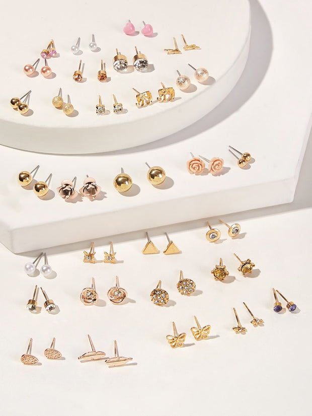 Flower & Butterfly Stud Earrings 30pairs