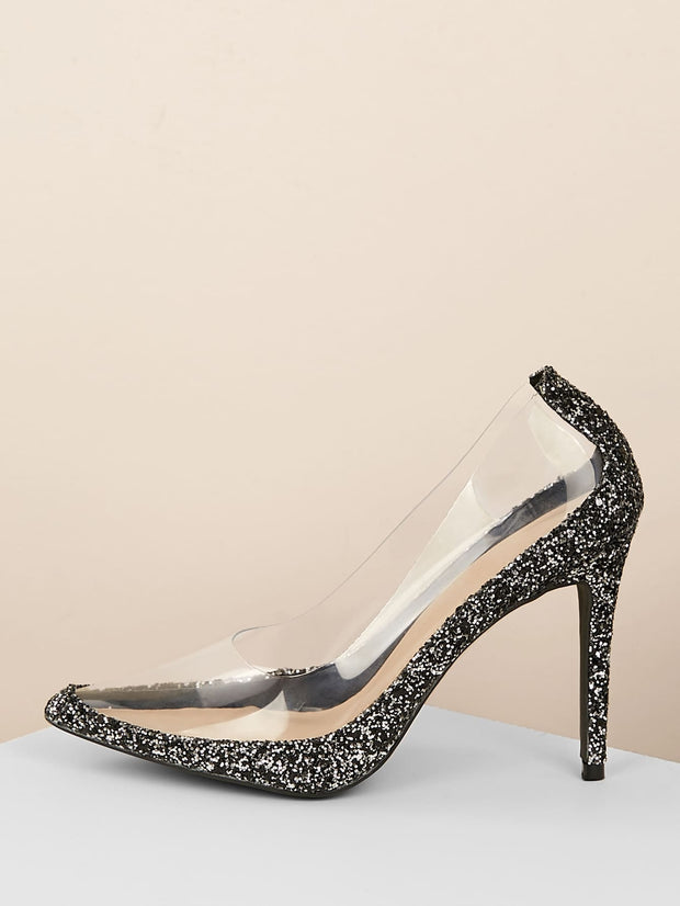 Pointy Toe Clear Detail Stiletto Pumps