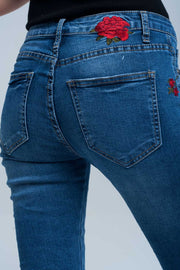 Women's Skinny Jean Embroidered Detail