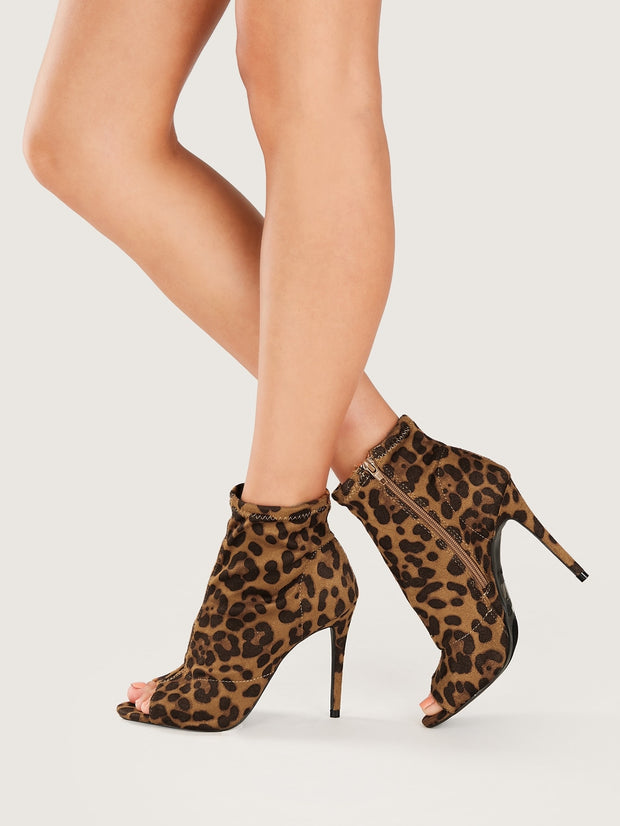 Peep Toe Stiletto Heel  Booties