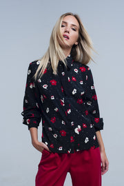 Women's Black Shirt with Red and White Flowers