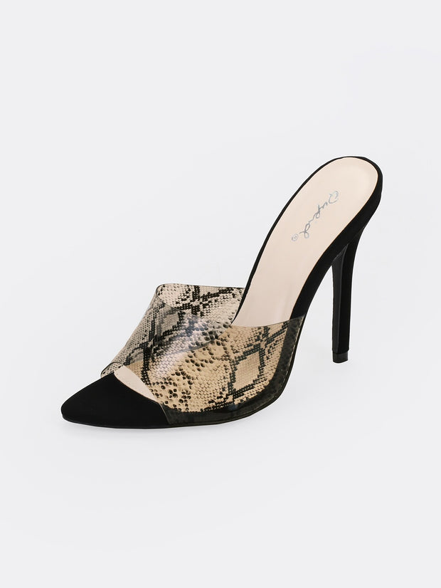 Open Toe Printed Band Stiletto Heels
