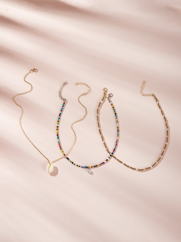 Shell Charm Beaded Chain Necklace 3pcs