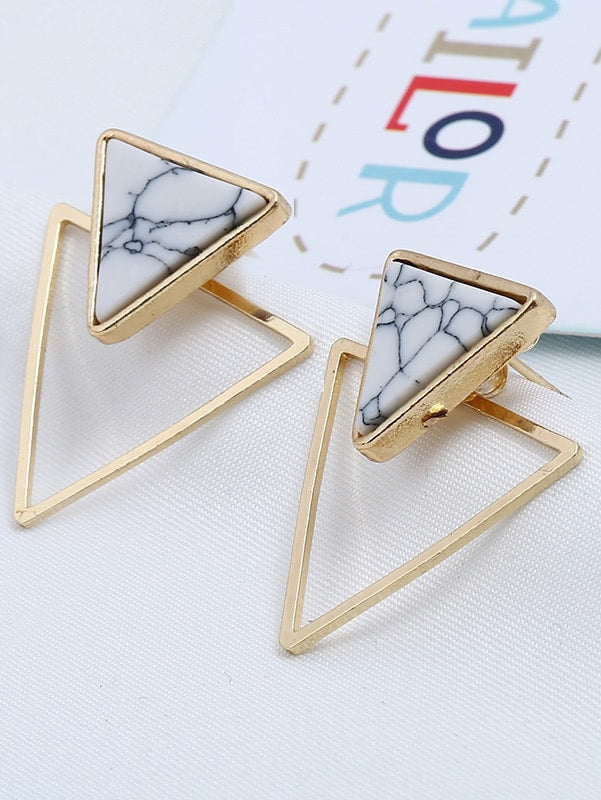 Double Triangle Design Stud Earrings 1pair
