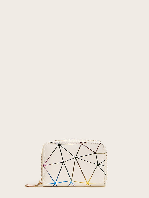 Geometric Print Purse With Card Holder