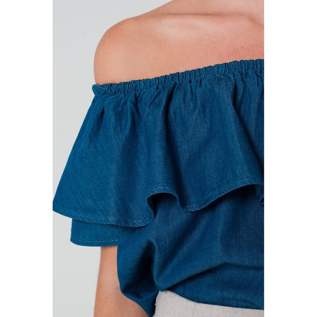 Dark denim off shoulder ruffle crop top