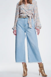 Culotte Jeans With Ripped Hem