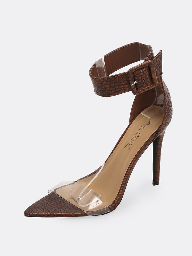 Buy women's Clear Band Snakeskin Buckle Ankle Stiletto Heels available at very affordable prices. Free shipping and free returns on selected orders. Place your order now.