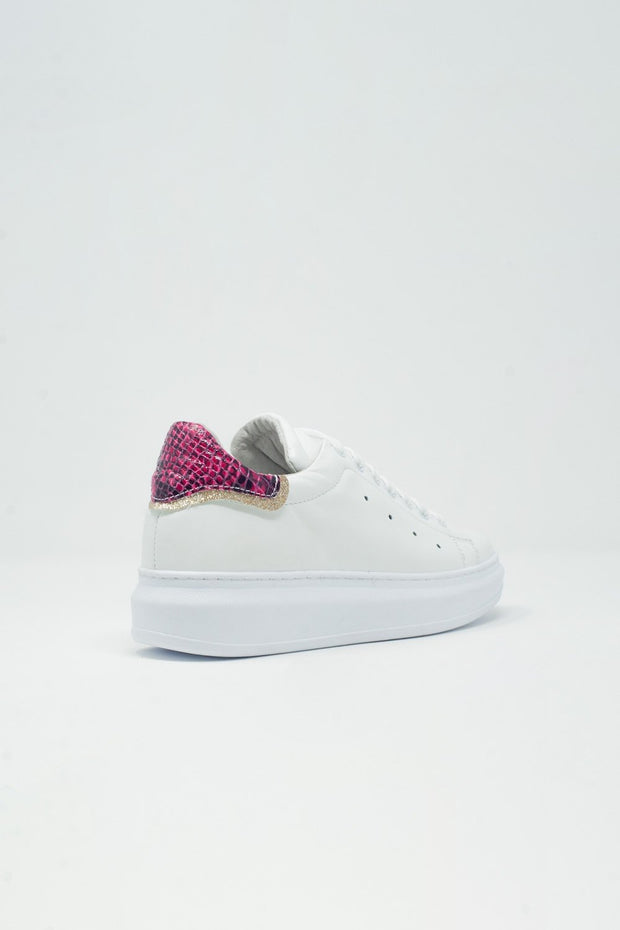 Pointed Laceup Sneakers in Fuchsia Snake Print