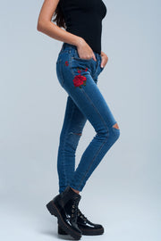 Buy Women's Skinny Jean Embroidered Detail